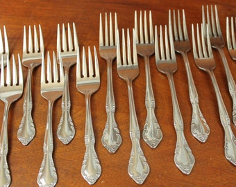 Estia Cascade Stainless Flatware Vintage old silverware replacement set wedding utensils cutlery flowers cottage shabby floral tip Bin 38