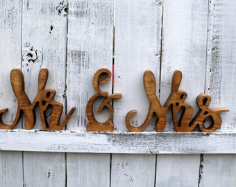 Rustic Wooden Signs - Made to Order - Mr & Mrs THICK Cut outs - Wedding Table and Photo Props