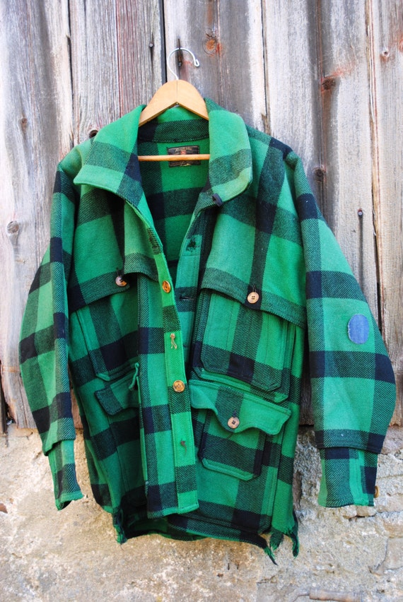 Vintage Woolrich Style Mens Green Buffalo Plaid Wool Hunting
