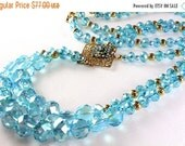 ON SALE Aqua Crystal Art Deco Style Necklace, Long Necklace