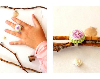 Crochet Flower Ring lilac