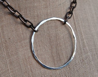 Artisan Ring on Bronze Chain Necklace