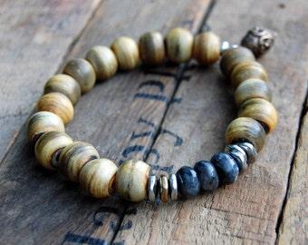 Faceted Marbled Labradorite & Horn Bracelet