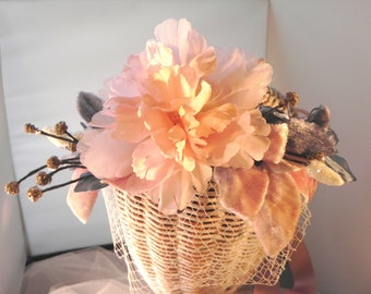 Blush Pink Floral Crown, Bridal Headpiece, Boho Floral Wreath, Blush Pink and Blue Wedding Crown,