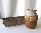 Vintage Pottery Sour Dough Pot w/ Loaf Bread Pan Earthenware Hand Thrown Earth Tone Pottery Art Rustic Decor 1980