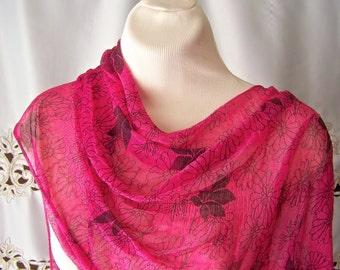 Vintage Pink Scarf Designer Scarf Extra Long 67 X 15 1990s