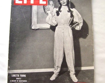 Vintage Life Magazine 1946 Loretta Young Models Nightgowns Cigarette Advertising Hollywood Actress Vintage Car Advertisements