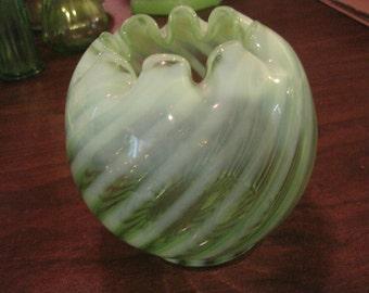 Fenton Green and White Striped Vase