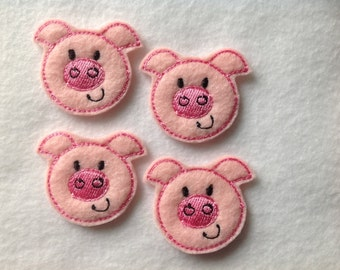 PIG - 4 Machine Embroidered Felt Embellishments / Appliques - Ready To Ship ~ Available Cut Or Uncut