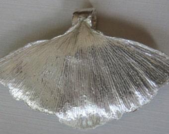 Fine Silver Ginkgo Leaf Pendant