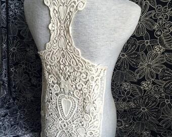 Cotton Applique - 1 pcs Light Beige Applique for Altered Couture, Costume Design(A387)