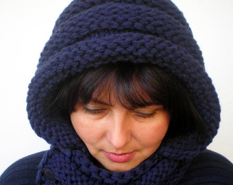 Eternity Navy Blue Color    Hoodie Mixed wool  Yarn Hood Woman Chunky  Hooded Cowl NEW