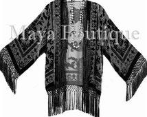 Black Kimono Fringe Jacket SILK Burnout Velvet Short Maya Matazaro Plus Size 3X-5X