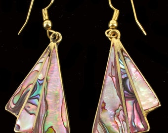 """Vintage Mexico Beautiful Pair Of Abalone Drop Dangle Earrings 2.25"""" So Colorful!"""
