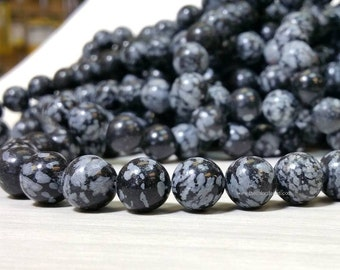 Natural Snowflake Obsidian 6 8 10 or 12 mm Smooth Round Beads Full Strand (G2034Q5-MS)