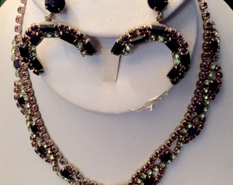 Lavender- Black-Green- Rhinestone Necklace and Earring Set