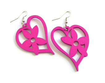 Hot Pink Wood Dangle Earrings