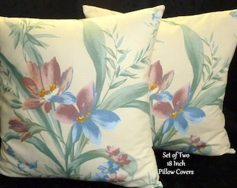 Decorative Throw Pillows Set of Two 18 Inch Blue and Rose floral