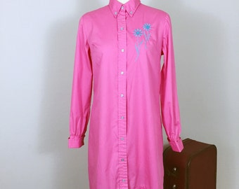 60s vintage Pink Shirtwaist cotton embroidered dress, Diane Young dress, button down Mod shirt mini dress, size small
