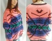 80 Sweater PULLOVER Raglan sleeve TRIBAL Vintage Sweater Acrylic Slouchy Geometric Native Print s, m, l