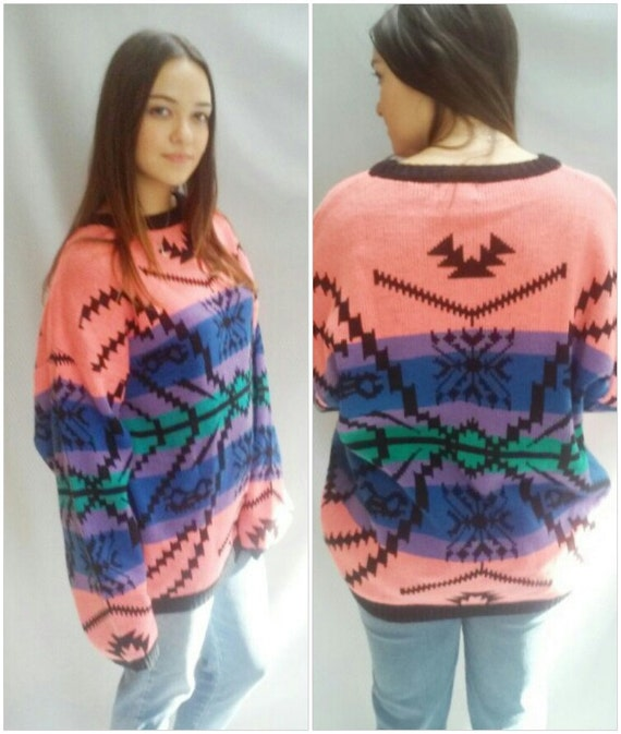 80s NEON Sweater, Colorful,  Indian BLANKET, Geometrci