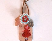 Red Little Girl Nathalie Lete  Charm - Mini Assemblage - Lucky Charm - Recycled Pieces - Boho Chic Pendant