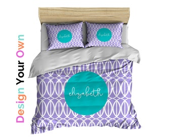Duvet Cover or Comforter, Bedding, Dorm Bedding, Personalized Monogrammed Design Your Own Pick Your Pattern and Colors