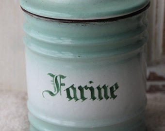 French enamel green and white farine canister