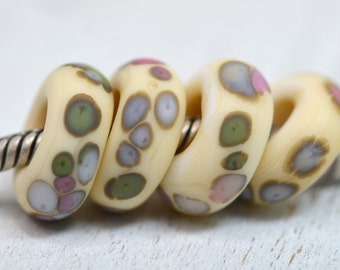 pastel dots..with tons of silver...big hole beads...dread beads....Euro style glass single lampwork charm, SRA handmade P122915-3