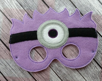 One Eyed Purple Monster, Purple Minion, Evil Helper, Children's mask, Follower