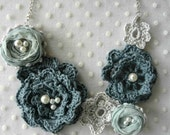 CROCHET PATTERN Winter Roses Necklace - irish roses crochet necklace, crochet pattern,digital pattern, mori necklace, romantic, bohemian