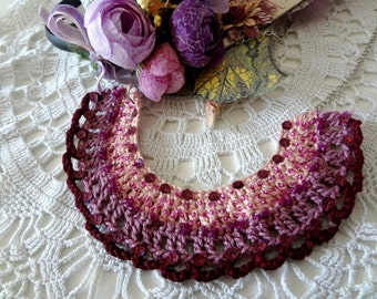 Crocheted Tribal Necklace #2- crochet and bead necklace, bib necklace, bohemian, ethnic,gypsy jewelry native american