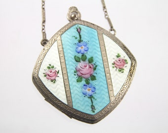 Antique Art Deco FMCO Finberg Mfg Co Guilloche Enamel Dance Purse Compact~Roses