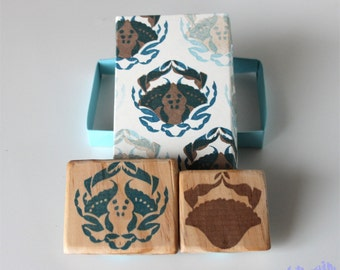 Crab rubber stamps, hand carved, wood mounted