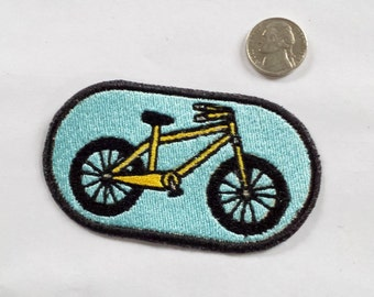 Yellow Bicycle Iron On Patch