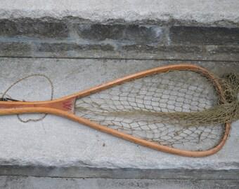 Vintage wood Trout Fishing net Wood Lake House Fresh Water Trout