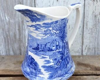 Meakin Tintern Blue Milk Pitcher Transferware stoneware water English