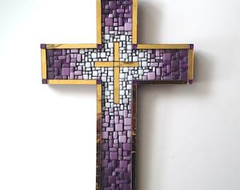 purple and Gold Mosaic Cross