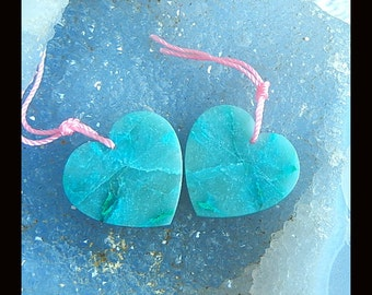 New,Chrysocolla Heart-shaped Earring Beads,25x24x3mm,8.5g