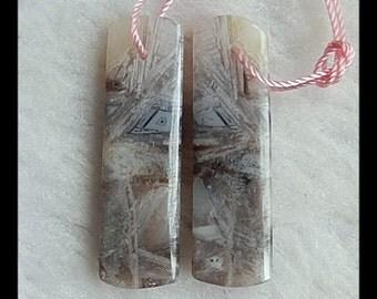 Bamboo Agate Gemstone Earring Bead,35x10x4mm,6.48g