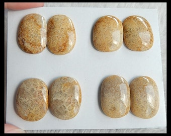 SALE,4 Pairs Indonesian Fossil Coral Gemstone Cabochon,29.15g