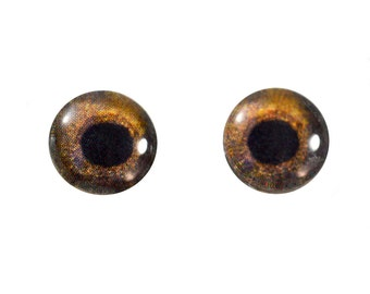 8mm Hawk Cabochons Glass Doll Eye - Evil Eyes for Jewelry Making or Sculptures - Set of 2 - Dark Brown