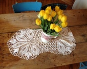 Vintage doily, table pieces,  crochet, french, cream, table runner, rectangle, vintage french lace and pieces by ancienesthetique on etsy,