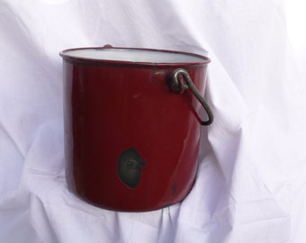 Red Enamel Pot, Burgundy Kitchen Container, French Country Kitchen , 1940s France, jug vase, country farmhouse, enamel home decor, moms gift