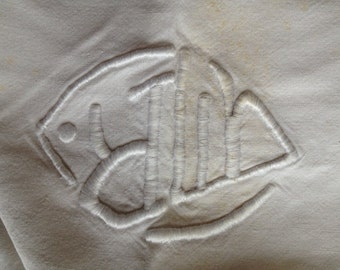 Monogrammed Cotton Sheet, Linen Sheets, Antique Linens, Handworked bedlinen, monogrammed sheets, Antique Cotton Bedsheet