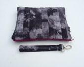 Shibori Waxed Canvas Bag w/ Detachable Handle // Tie-dyed Waxed Canvas // Vegan // Gray w/ Magenta Zipper