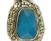 Tibetan Silver Repoussee Pendant Blue Floral 2.5 Inch 103468