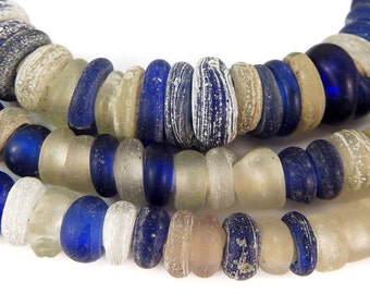 Dutch Donuts Trade Beads Blue Translucent Rings Africa 98853