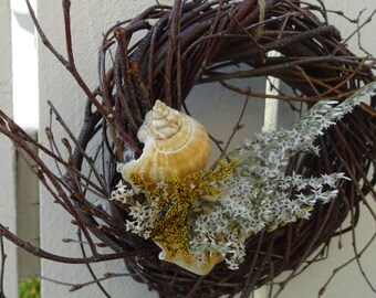 Twig Wreath  Birch Wreath   Sea Shell Wreath   Nautical Wreath  Beach Decor  Beach Home  Sea Shore Decor  Natural Wreath Home Decor  Wreath