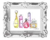Instand download -Print of Watercolour Fashion Illustration. -Perfume bottles Coco  quote